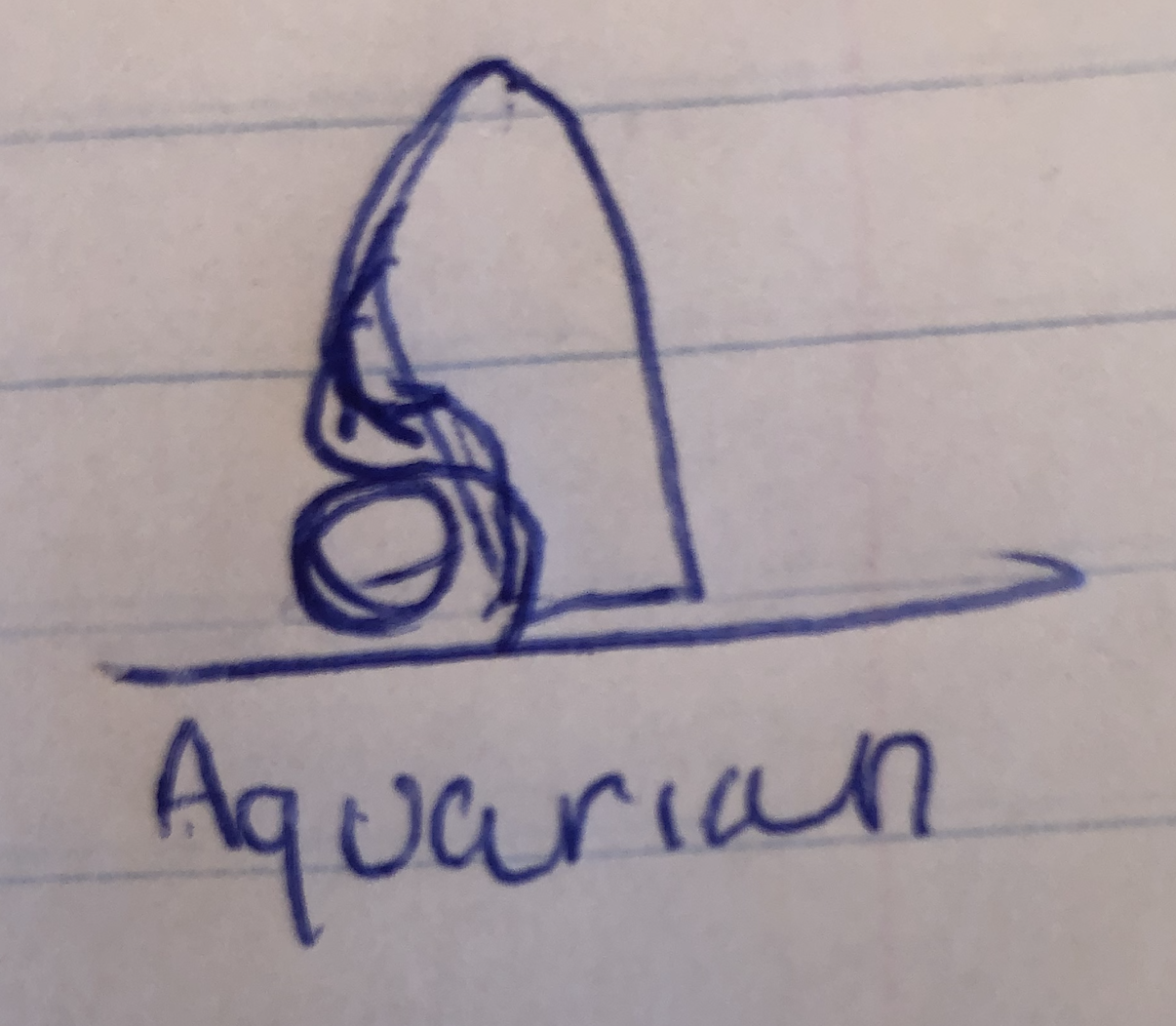 Original hand-design of Aquarian logo on lined paper