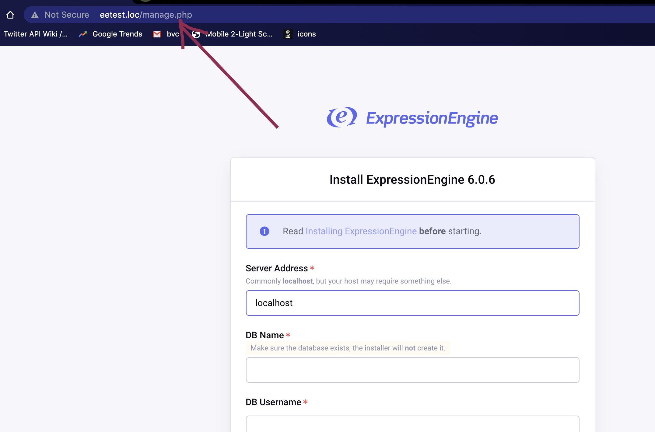 Install ExpressionEngine - database screen at custom address