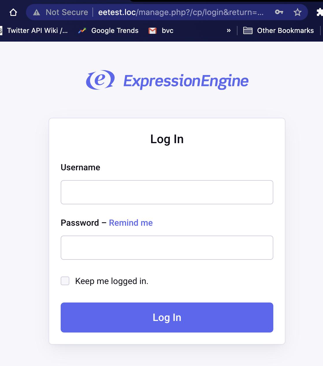 ExpressionEngine login screen