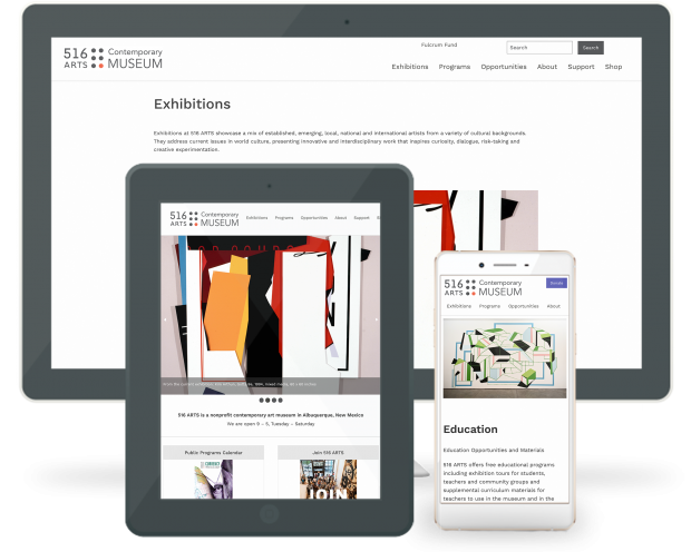 516 ARTS Website - Pro Bono Web Design on Multiple devices 0