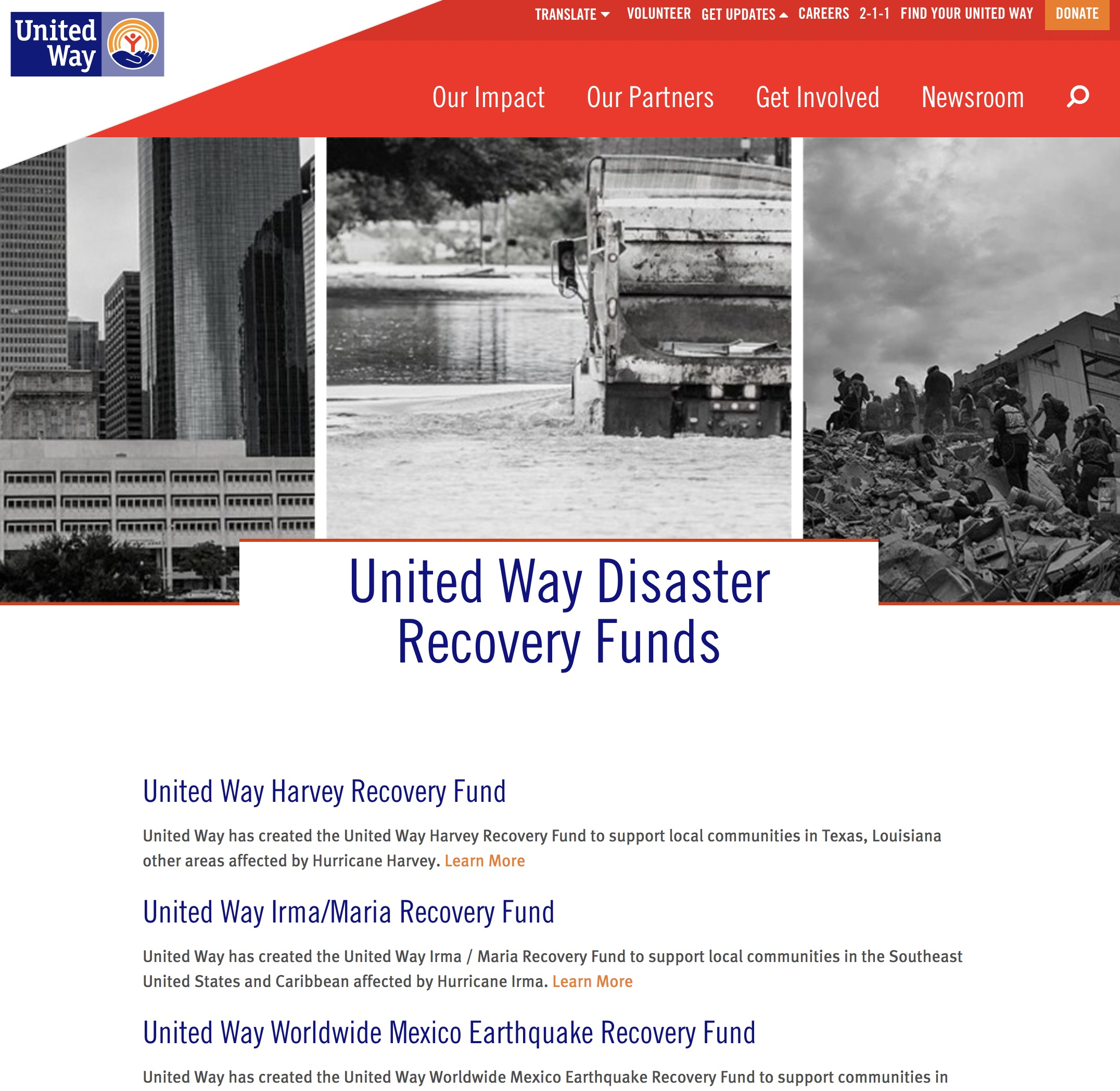 United Way Recovery Website Image