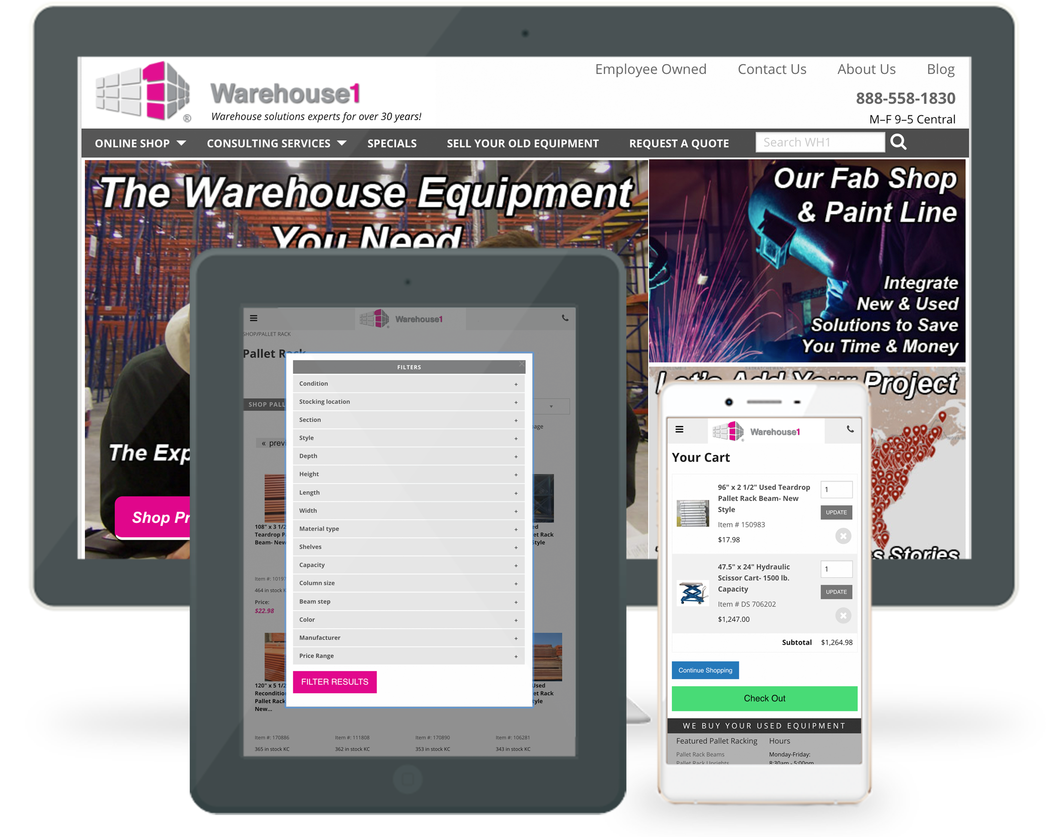 Warehouse1 responsive Wordpress website and ExpressionEngine ecommerce shopping cart
